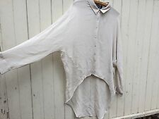 EILEEN FISHER 100% SILK fisher project asymmetric tunic blouse lagenlook chiffon