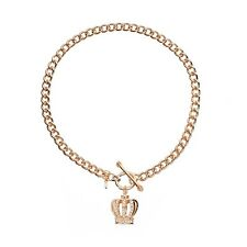 NEW NWT Juicy Couture Toggle Pave Crown Necklace Rose Gold Tone