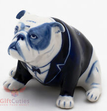 Porcelain English Bulldog Dog in Frak Figurine Gzhel colors handmade