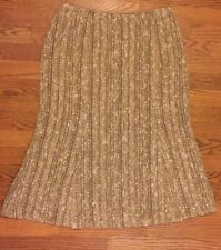 Lafayette 148 NYC Gold Cream Beige Boucle Nordstrom Trumpet Flare Skirt Size 8