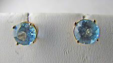 14K Yellow Gold Blue Topaz Round Stud Pierced Earrings