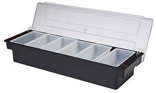 Black Plastic 6 Compartment Condiments Holder Bar Tidy Garnish Beaumont Pub