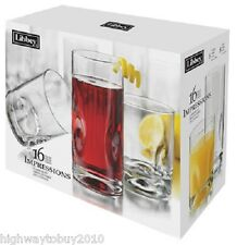 Libbey Crisa 1786426 16 Piece Impressions Clear Glasses Tumbler Beverage Set