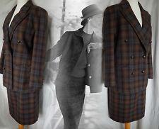 Skirt Suit Wool Jacket Tartan Plaid Tweed Suffragette Vintage 40s 50s 10 38 US 6