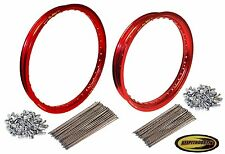 Pro Wheel Red Front and Rear Rim and Spoke Set Fits Honda Cr125 Crf250