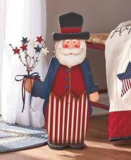 """24"""" Wooden Uncle Sam Statue Patriotic Americana July 4th Star Flowers Home Decor"""