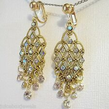 "CLIP ON 2"" Vintage Style Rhinestone Gold Tone Non Pierced Dangle Earrings E766"