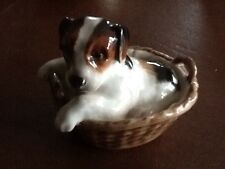 Vintage Royal Doulton Figurine Wire Smooth Fox Terrier Dog Puppy In Basket 2587