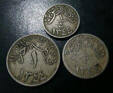 SAUDI ARABIA HEJAZ & NEJD SET OF 3 COINS 1/4, 1/2 & 1 GHIRSH 1344 SCARCE L@@K!!
