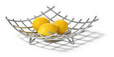 New Modern Contemporary Shiny Polished Chrome Fruit Bowl Centerpiece Square Bowl