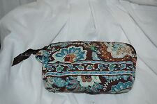 Vera Bradley Makeup Cosmetic Accessory Zippered Bag Brown Floral Paisley EUC