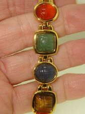 LOVELY VINTAGE KENNETH JAY LANE GEMSTONE CARVED  SCARAB BRACELET! 7 1/4""