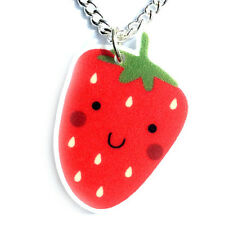 Strawberry Necklace Cute Kawaii Fun Kitsch Quirky Acrylic Jewellery Free P&P UK