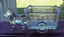 UNIQUE IN SIZE A DECORATIVE HORSE & CART PRESSED GLASS BY HALEY OR JEANNETTE???