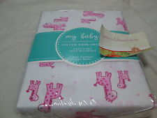New My Baby Pink Giraffes Fitted Crib Sheet ~ Also fits Toddler Size Bed NIP