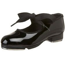 Economy Toddler Girl's Size 9 Black Patent Leather Ribbon Tie Tap Shoes