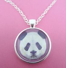 Panda Face Triangle Design Silver Pendant Glass Necklace New in Gift Bag