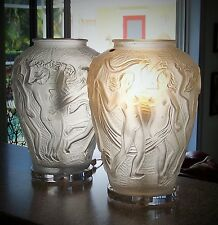 PAIR OF MID CENTURY MODERN LAMPS / BOHEMIA CRYSTAL / CIRCA 1950'S /LALIQUE STYLE