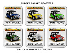 MINI  MOKE  CALIFORNIAN      SET OF  6   QUALITY  RUBBER DRINK  COASTERS