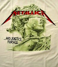 METALLICA cd lgo CHROME STATUE Official White SHIRT SMALL New justice for all