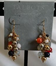 NWT! MINT! TALBOTS Mixed Bead Drop Pierced Earrings-Gold/Multi-color