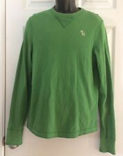 Abercrombie & Fitch Mens Heavyweight Long-Sleeve T-Shirt Muscle Large Green L Lg