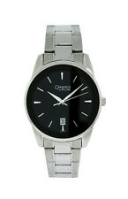 Caravelle by Bulova 43B114 Men's Black Round Analog Date Silver Tone Watch