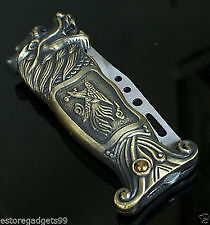 Antique Finish inbuilt Swiss with Green Flame Cigarette Lighter Knife Wind Proof