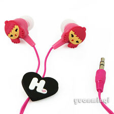 New Cartoon Harajuku Kids Cute Earphone Headphone Earbuds In-Ear 3.5mm Gifts Red