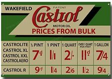 CASTROL PRICES FROM BULK METAL SIGN,RETRO,GARAGE SIGN,OIL SIGN,