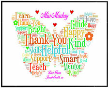 THANK YOU TEACHER GIFTs Personalised Assistant Childminder Presents A4 Word Art