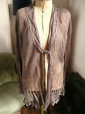 Whistles Delicate Lacy knit Metallic Waterfall Long Sleeved Cardigan Size 2 (14)