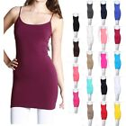 Seamless Extra Long Solid Tunic Mini Slip Dress Camisole Plain Jersey Tank Top
