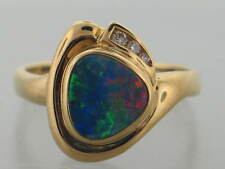 OPAL HOUSE 2013 - 18K YELLOW GOLD 1.88CT AUSTRALIAN BLACK OPAL & VS DIAMOND RING
