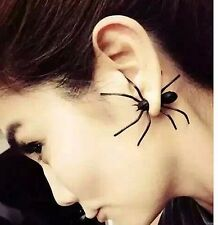 ONE ONLY Single Black Spider Stud Earring Punk Gothic Emo Rock Halloween Fashion