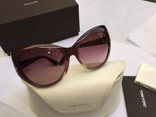 New Rare TOM FORD Cats Eye Sunglasses BARDOT FT0284S 68Z Opal Red Rose / Mauve