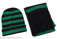 85004 Green Black Striped Beanie Scarf Set Fringe Cute Winter Warm Punk NEW