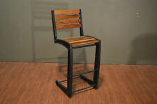 Industrial Rustic Style Solid Wood & Iron Bar Stool / Counter High Bar Chair