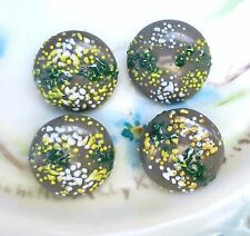 #1514 Vintage Cabochons Green Czech Pressed Glass Round 14mm Floral Hunter Pine