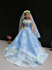 Wedding Party Gown Outfit Handmade for Barbie, Dolls Dress up Clothes, Blue 3+y