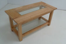 NATURAL SOLID WOOD COFFEE TABLE WITH CLEAR GLASS INSERT & SHELF SIDE WOODEN