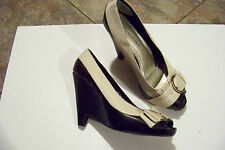 womens she's collection zeta black & tan buckle super wedge heels shoes size 9