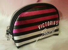 Victorias Secret Makup Bag Beauty Case Metallic Pink Stripe Cosmetic Travel NEW