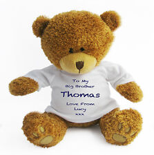 Personalised Big Brother Teddy Bear (Large) - Gift Present New Baby Blue