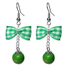 Boucles D'oreilles femme rétro rockabilly pin up noeud papillon vichy vert perle