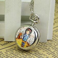 New Xmas Gift Little Girl & Cat Retro Necklace Pendant Chain Quartz Pocket Watch
