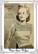 VINTAGE KNITTING PATTERN COPY 1930s-40s WARTIME LADY'S FAIR ISLE YOKE JUMPER