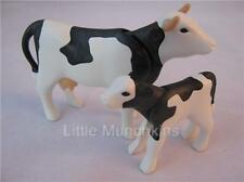 Playmobil Farm/dollshouse extra animals: Black/white cow & calf NEW
