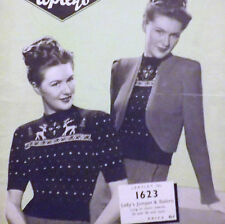 "Lady's Jumper & Bolero Vintage 1940's Christmas Knitting Pattern 34"" & 36"" C1623"
