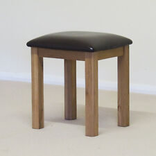 Roseland Oak Stool / Dressing Table Stool / Solid Oak with Faux Leather Seatpad